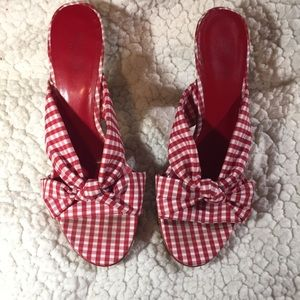 Guess red/white gingham cork heels sz 8 1/2